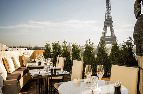 Magnificent view at Cafe de l'Homme in the Palais de Chaillot.
