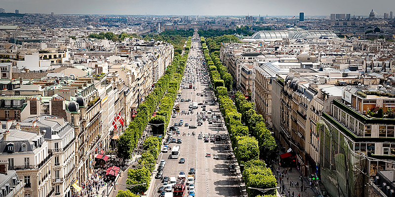 Champs Elysee is known for it's theaters, cafes and luxury shops