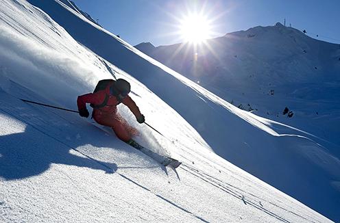 Free skiing in La Plagne