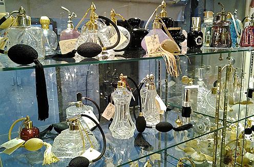 La Boutique du Flacon, a unique shop specializing in vintage perfume bottles.